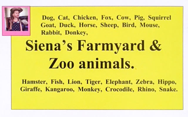 Chat a Sign - Siena's Farmyard and Zoo Animals
